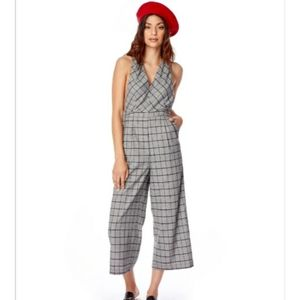 Lost and Wander Gray Plaid V-neck Jumpsuit